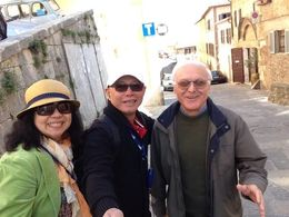 My husband and I doing a selfie with a local at Montepulciano...nice people! , Lee - April 2015