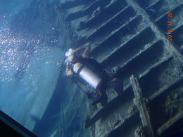 A scuba diver exploring a shipwreck on the coral reef. , ckfr - December 2012