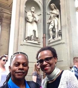My wife and I under the statue of Galileo in the Uffizi Square , Adrian C - May 2017
