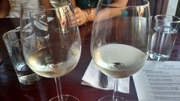 A crisp Sauvignon blanc at the Wine Kitchen to wrap up our tour, Emily G - August 2015