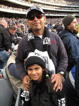 Balaji and Kavya in Collingwood hats and scarves; Magpies fans since they moved to Melbourne a few years ago. Good choice. , ROD C - August 2011