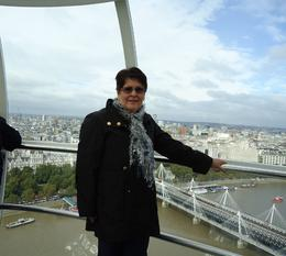 A photo of myself aboard the London Eye with The Thames and part of London in the background., Judith C - December 2010