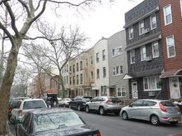 a typical residential street in Brooklyn, we found it fascinating to see the differences in architecture and the ethnic enclaves that exist here as opposed to built up Manhattan , Schoie - March 2012