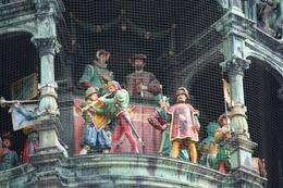 The Glockenspiel that moves at 11am, 12 and 5pm. It is on the front of the Rathaus., Mark B - April 2009