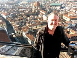 Picture of me on top of the Florence Duomo, sweaty and tired but very happy, taken by out tour guide, Angelo. , Michael L - November 2014