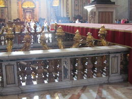 This shows the steps to the entrance to St Peter's tomb as well as the Papal Altar , Elizabeth J - November 2011