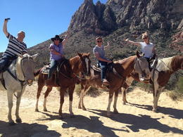 Mark, Joanne, Jack and Lucy Mundell during their horseback ride at Bonnie Springs. , M M - October 2013