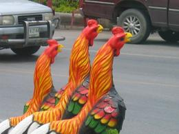 On the way to the first palace, I spied these roosters at the road side. Wonderful!, Diane B - July 2008