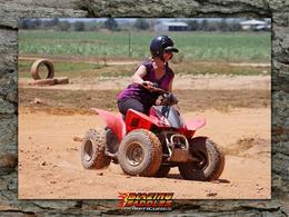 Me having an adrenalin rush on my first quad-bike ride..AWESOME..! Age has no limits for this great grandma..Great fun... , Kaye O - October 2013