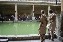 Some guides were giving a presentation at the Roman Baths in their traditional outfits., Heather G - September 2008