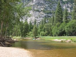 There's a beautiful river running down the middle of the Yosemite Valley. You can swim in it -- which is very handy on hot days (it gets very hot here in summer!)., Global Nomad - April 2008