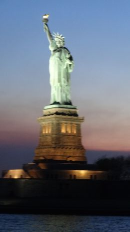This was taken on the cruise boat. Fabulous evening and wow 'What a Statue' !!!! , Yvonne S - April 2016