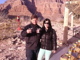 My wife and I having a champagne toast in the Grand Canyon , Bira - January 2014