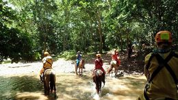 Our group of horses passing through a river on the way to the caves. , Allan - September 2015