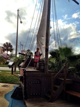 Its my daughter in this photo exploring the pirate ship , Bibs - January 2016