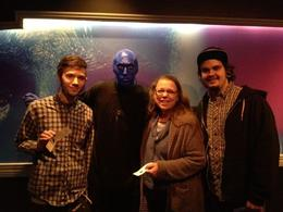 The blue men are happy to sign your tickets with a blue fingerprint, indieandiejones - November 2012