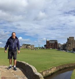 A photo of myself at the famous 18th bridge crossing at St Andrews , pwcats - September 2015
