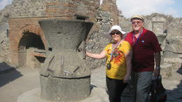 Here we are in a bakery in Pompei. Our guide Fabiano was terrific. , Deb - September 2011