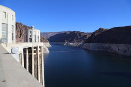 Looking north along the Colorado River from the top of the Hoover Dam. The river is down about 150 feet and the prognosis is not good for the near future. Save water! , Mark G - January 2015
