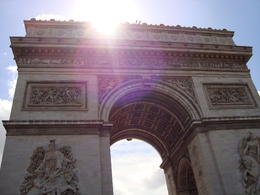 View of the Arc from atop our tour bus in the morning , Jessica - July 2011