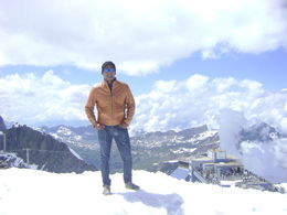 enjoying the snow on top of mt titlis , Nitesh J - July 2015