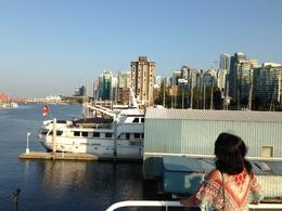 My wife taking pictures from the upper deck. Very nice weather. , David S - August 2014