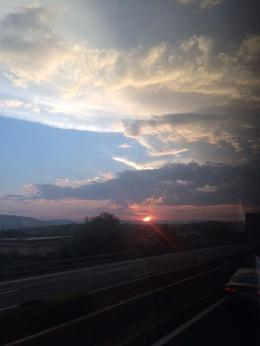 a beautiful sunset from the coach , Dana D A - September 2016