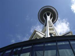 Not the usual view of the Space Needle but it gives you an idea of its size!!, Valerie P - August 2010