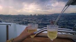 Enjoyed a glass of cava on our way back to port. , Steven M - July 2016