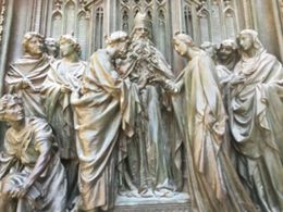 A detail from the beautiful bronze doors of the cathedral , Jenni G - August 2015