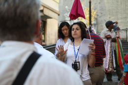 Teresa the Guide woman near the Vatican cafe , Benjamin Thomas W - August 2012