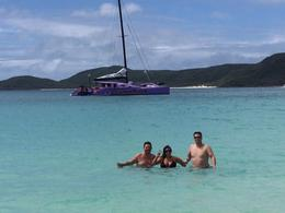 Fun in the sun at Whitehaven Beach with our boat Camira in the background , erinrosejonasson - September 2016