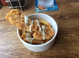 Loved the crispy sample of fish and chips. , Jason K - September 2015