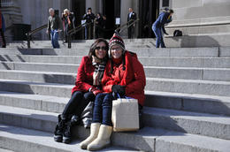 "BFF's sitting at the steps of the Metropolitan Museum of Art. We didn't see the ""Queen B"" lunch crew, but in real life, these steps are often frequented by the girls from the Marymount School, ... , sancfab - April 2011"