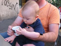 Actually, that was dad's coffee. But fun to hang out in Rome with a coffee and your son on your lap., Skootre - September 2010