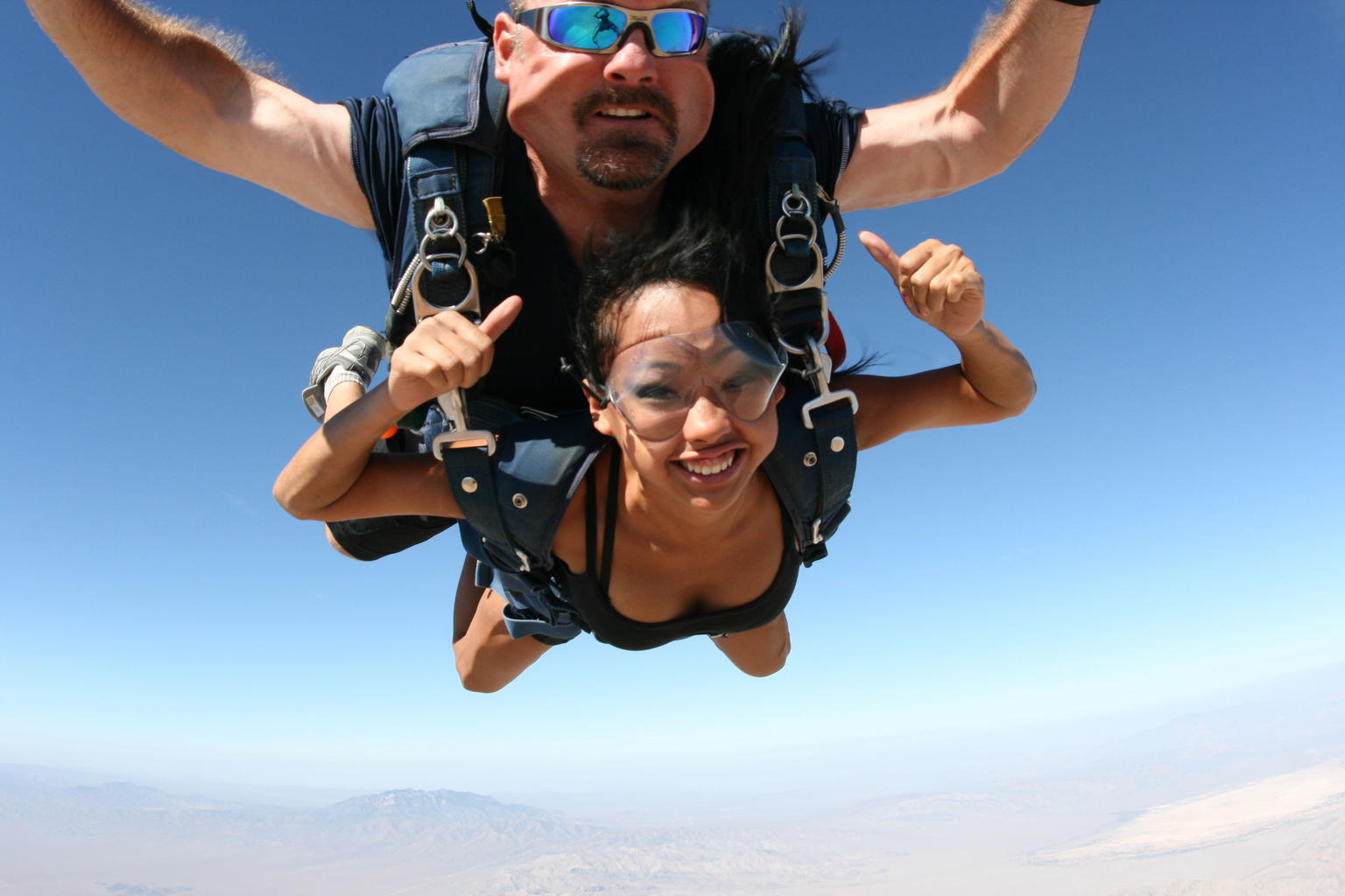 Tandem skydiving over Las Vegas desert