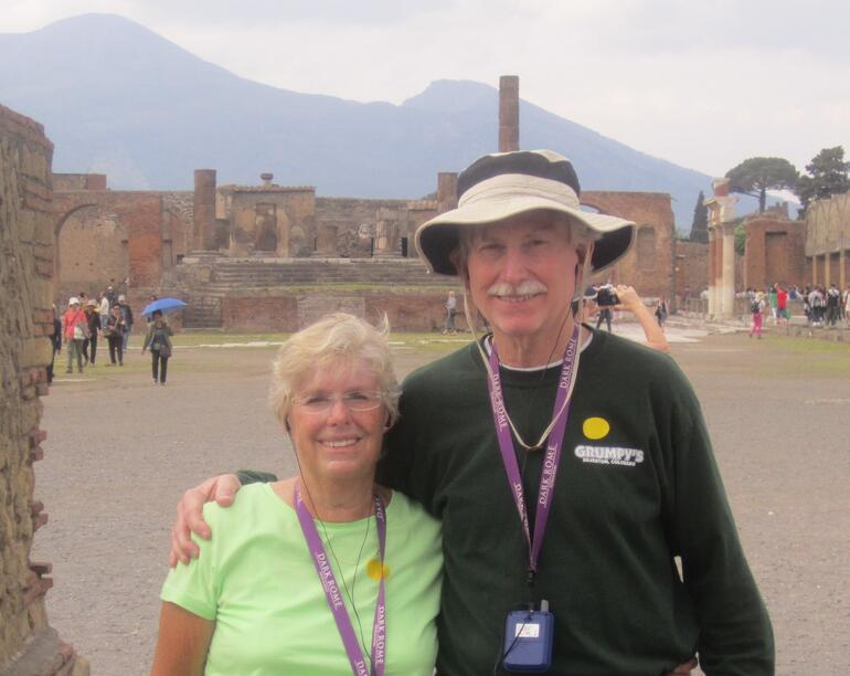 Pompeii's Temple of Jupiter and Vesuvius, w/ two time-travelers - Rome