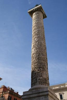 My notes aren't too clear, but I think Trojan's column has a statue of Augustus Caesar on top., Gene W - December 2009