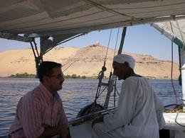 Our skipper was the oldest felucca caption on the Nile - not a word of English so we were glad to have our guide with us! - June 2008