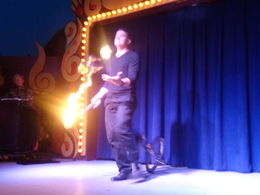 Fire juggler during the four-act floor show. , John - May 2016