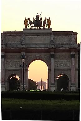 This shot lines up the sunset shining through the Arch near the Louvre, the Obelisk at the Place de la Concorde, and farthest away, the Arc de Triomphe. Stunning. , Leslie S - July 2013