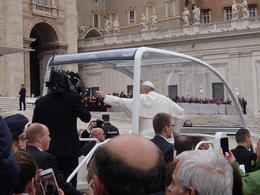 Three rows back as the Pope rode past us a couple of times. , jimm - November 2017