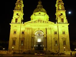 A night shot of St. Stephens Basilica with a full moon., Susan M - October 2010