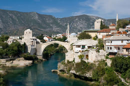 The rebuilt bridge in Mostar, Bosnia and Herzegovina - June 2011