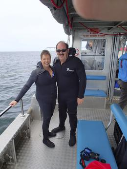 My wife and myself ready to cage dive with the great white sharks! , Steven B - November 2013