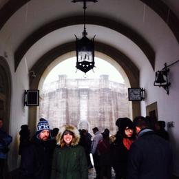 Waiting to go into the castle! It was a beautiful snowy day!!! , Susan G - January 2015