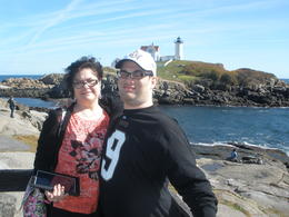 My son and myself @ the Cape Neddick Light in York , MinnieMouse - November 2013