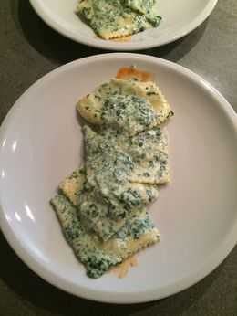 These were the most delicious ravioli I've ever eaten! Fresh ingredients, delicate light pasta and a savory cream spinach sauce. To die for! , Kathleen A P - November 2015