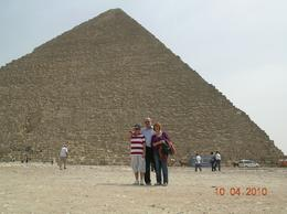 Family photo in front of the pyramids during a short holliday in Egypt, Milan A - April 2010