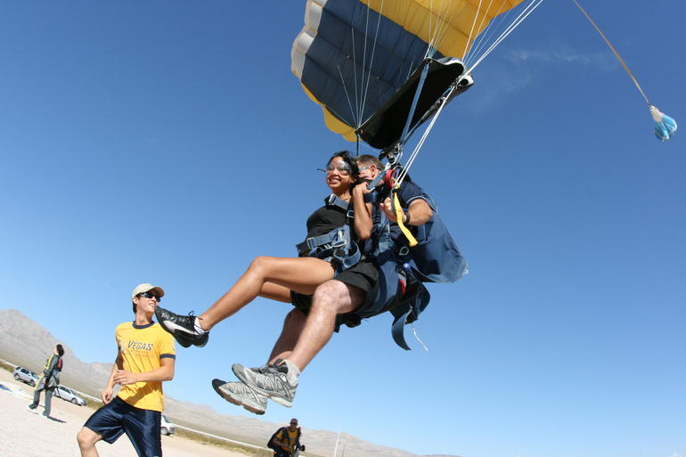 Adrenaline rush from tandem skydiving - Las Vegas